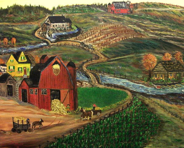 Folk Art Poster featuring the painting Old Mill Farm by Kenneth LePoidevin