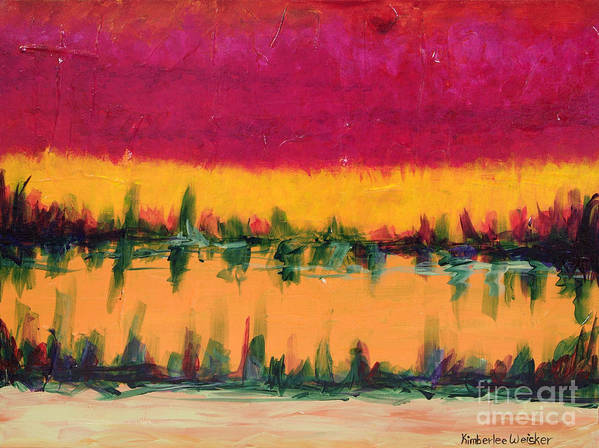 Pond Poster featuring the painting On Golden Pond by Kimberlee Weisker