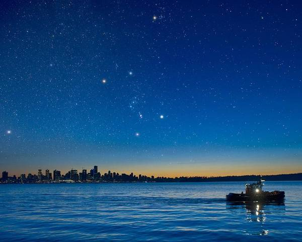 Vancouver Poster featuring the photograph Orion Over Vancouver, Canada by David Nunuk