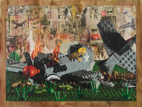 Lego Poster featuring the painting P40 Down by Josh Bernstein