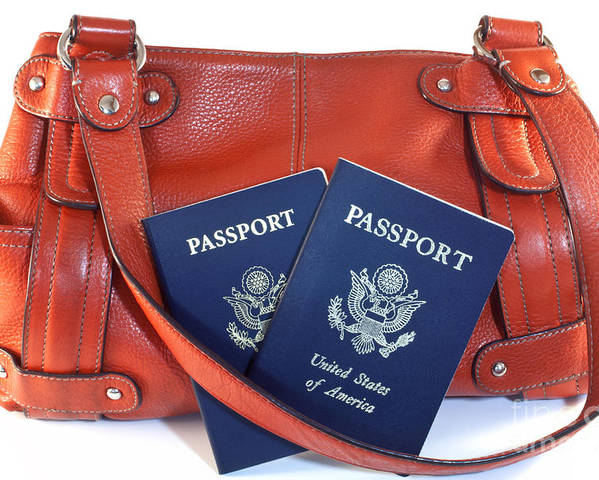 Orange Poster featuring the photograph Passports With Orange Purse by Blink Images