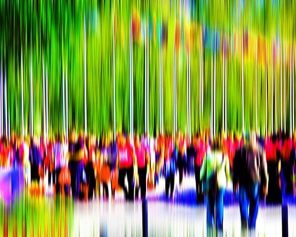 Abstract Poster featuring the digital art People Walking In The City-9 by Joel Vieira