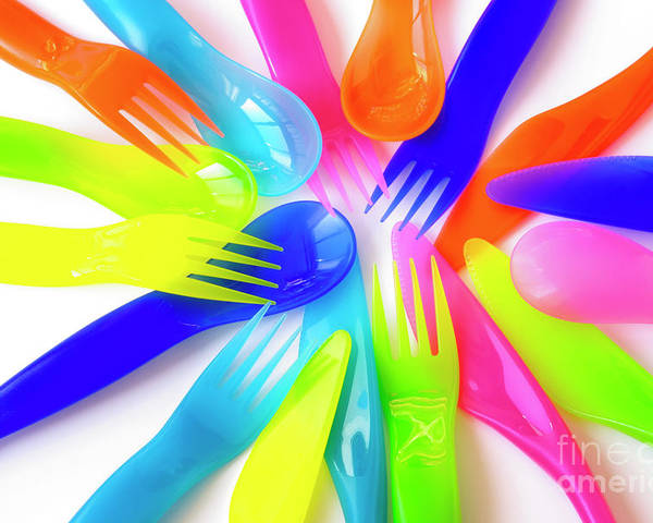 Baby Poster featuring the photograph Plastic Cutlery by Carlos Caetano