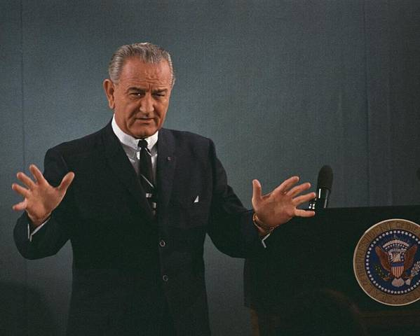 History Poster featuring the photograph President Lyndon Johnson Speaks by Everett