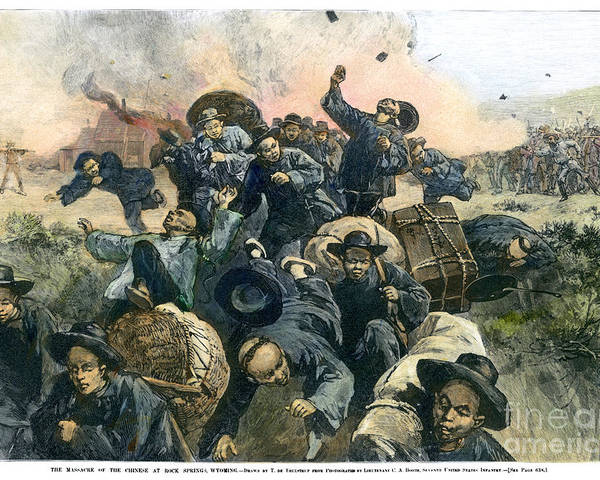 1885 Poster featuring the photograph Rock Springs Massacre by Granger