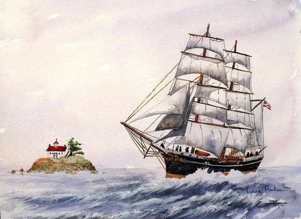 Ship W/ Lighthouse Poster featuring the painting Sailing Ship by Lynne Parker