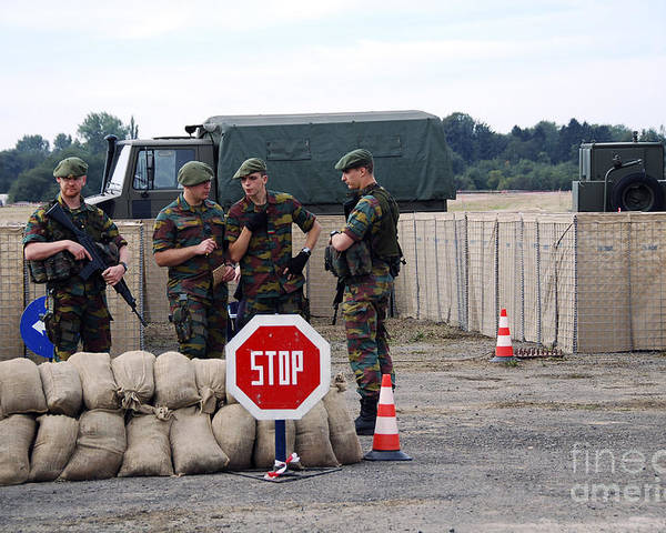 Armed Forces Poster featuring the photograph Scenery Of A Checkpoint Used by Luc De Jaeger
