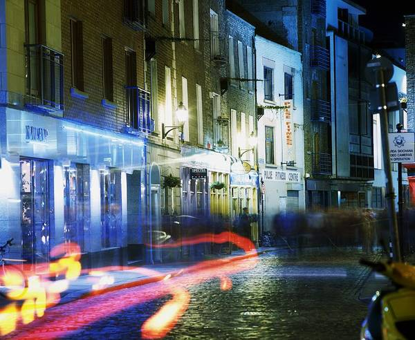 Blurred Motion Poster featuring the photograph Temple Bar, Dublin, Co Dublin, Ireland by The Irish Image Collection