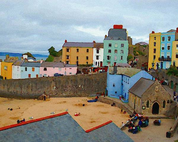 Tenby Poster featuring the photograph Tenby Village and Castle Wall by Tam Ryan