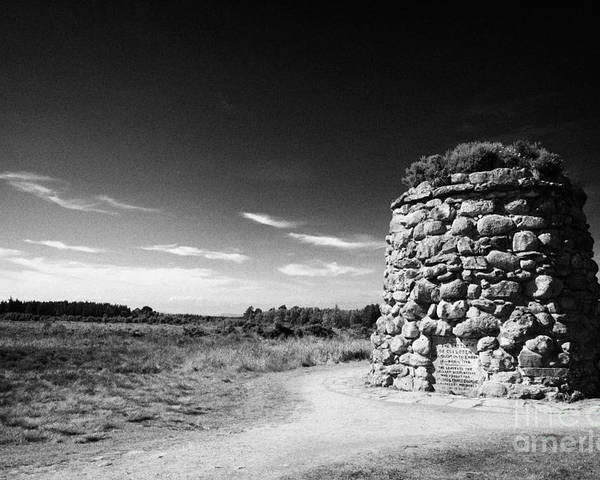 The Poster featuring the photograph the memorial cairn on Culloden moor battlefield site highlands scotland by Joe Fox