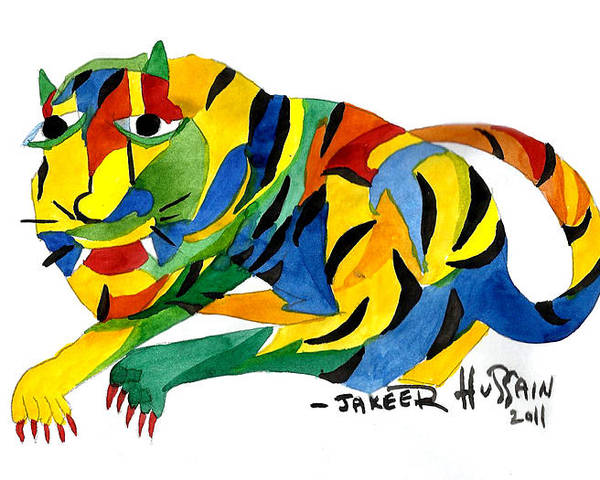 Poster featuring the painting The New Tiger by Jakeer Hussain