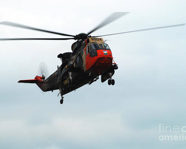 Air Component Poster featuring the photograph The Sea King Helicopter In Use by Luc De Jaeger