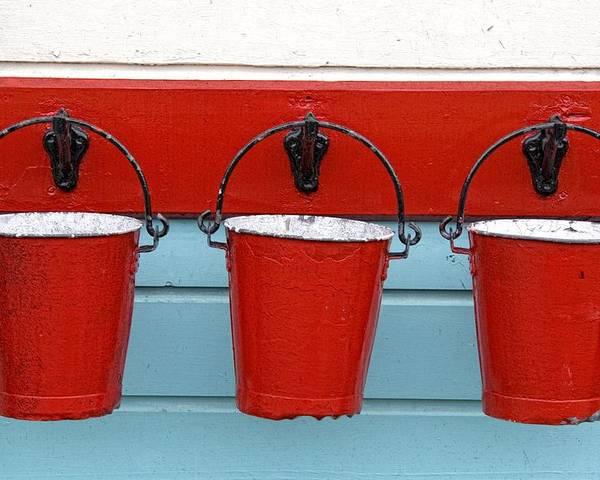 Bucket Poster featuring the photograph Three Red Buckets by John Short