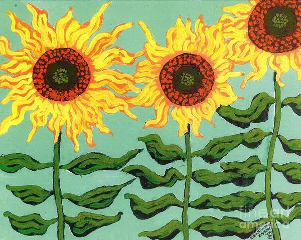 Sunflower Poster featuring the painting Three Sunflowers by Genevieve Esson
