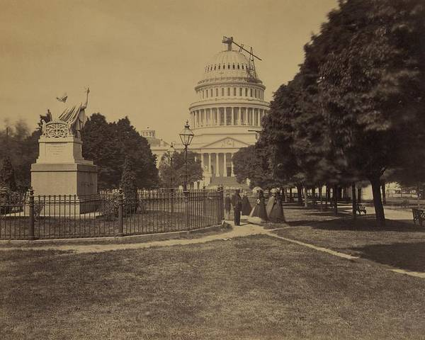 History Poster featuring the photograph United States Capitol Building In 1863 by Everett