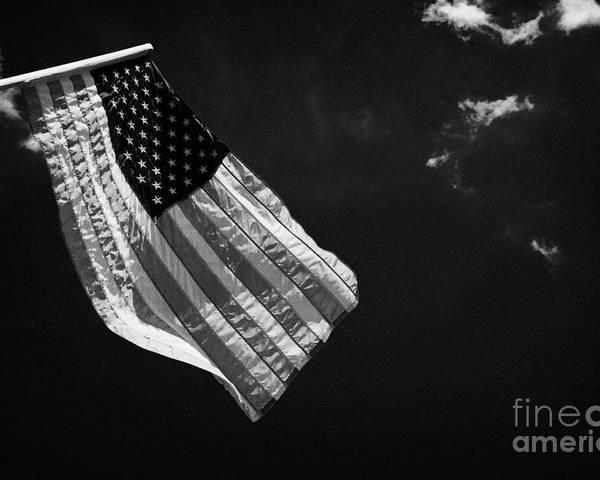 American Poster featuring the photograph Us American Flag On Flagpole Against Blue Cloudy Sky Usa by Joe Fox