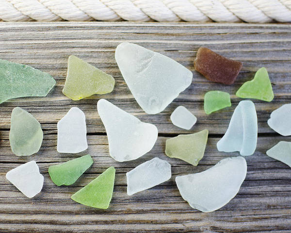 Horizontal Poster featuring the photograph Usa, New York State, New York City, Brooklyn, Collection Of Sea Glass by Jamie Grill
