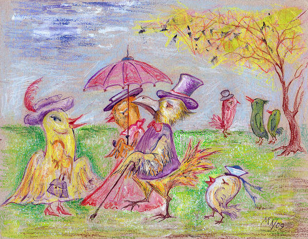 Pastel Poster featuring the drawing Walk by Milen Litchkov