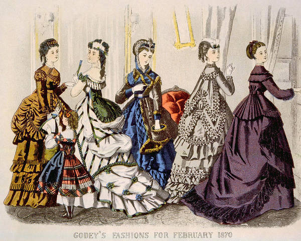 1870s Fashion Poster featuring the photograph Womens Fashions From Godeys Ladys Book by Everett