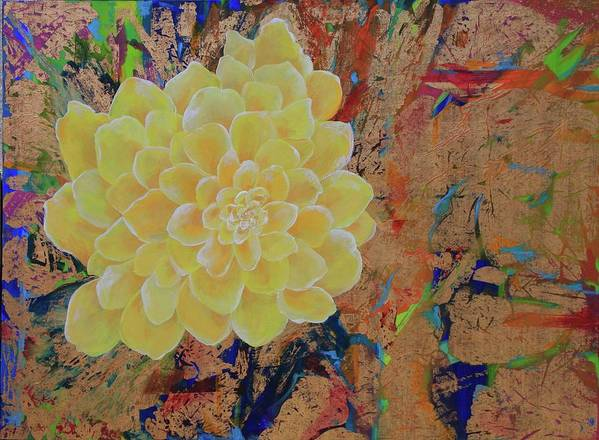 Yellow Blossom Gold Joy Bright Bloom Poster featuring the painting Yellow Flower by Sabra Chili