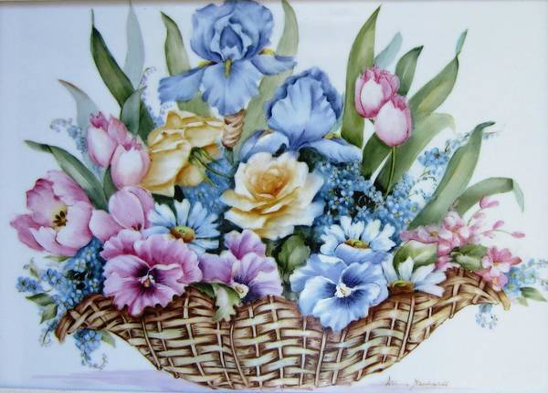Porcelain Poster featuring the ceramic art 1119 B Flower Basket by Wilma Manhardt