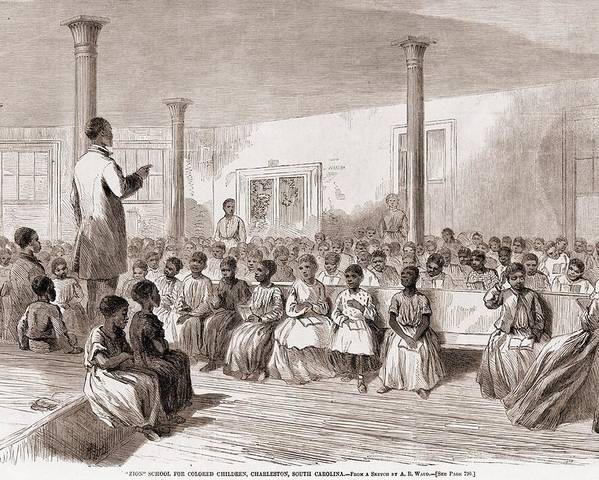 History Poster featuring the photograph 1866 Classroom Of Zion School by Everett