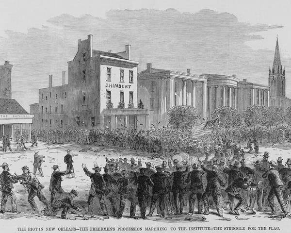 History Poster featuring the photograph 1866 Race Riot In New Orleans Was One by Everett