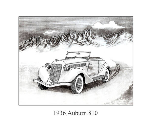 Framed Pen And Ink Images Of Classic Auburn Cars. Pen And Ink Drawings Of Vintage Classic Cars. Black And White Drawings Of Cars From The 1930�s Poster featuring the drawing 1936 Auburn 810 by Jack Pumphrey
