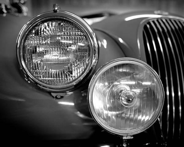 1952 Jaguar Xk120 Mark Vii Roadster Poster featuring the photograph 1952 Jaguar Headlights by Sebastian Musial