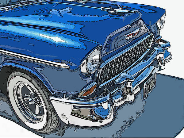 1955 Poster featuring the photograph 1955 Chevy Bel Air Front Study by Samuel Sheats