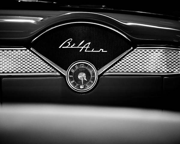 1955 Bel Air Poster featuring the photograph 1955 Chevy Bel Air Glow Compartment In Black And White by Sebastian Musial