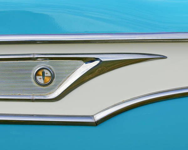 1959 Edsel Corvair Poster featuring the photograph 1959 Edsel Corvair Side Emblem by Jill Reger