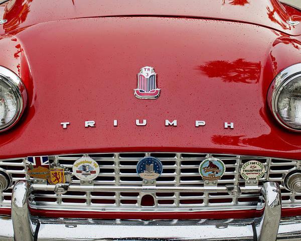 1960 Triumph Tr 3 Poster featuring the photograph 1960 Triumph Tr 3 Grille Emblems by Jill Reger