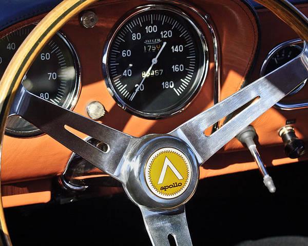1963 Intermeccanica Apollo Poster featuring the photograph 1963 Apollo Steering Wheel 2 by Jill Reger