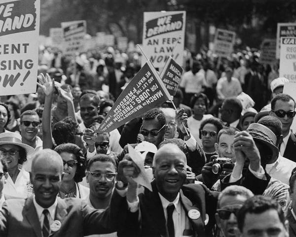 History Poster featuring the photograph 1963 March On Washington. Close-up by Everett