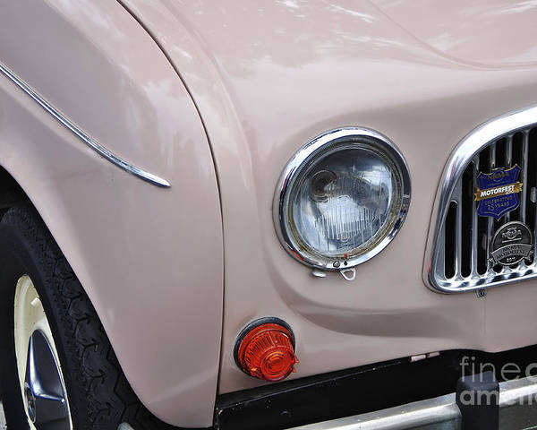 Photography Poster featuring the photograph 1963 Renault R4 - Headlight And Grill by Kaye Menner