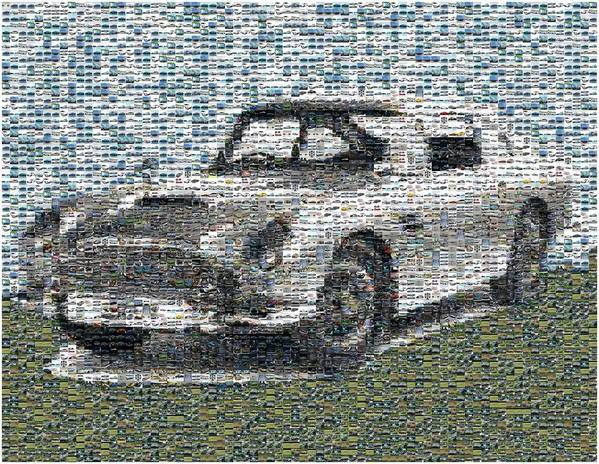 007 Poster featuring the digital art 1964 Aston Martin Mosaic by Paul Van Scott