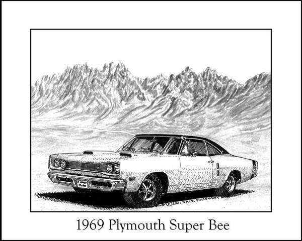 Organ Mountains-desert Peaks National Monument Poster featuring the drawing 1969 Plymouth Super Bee by Jack Pumphrey