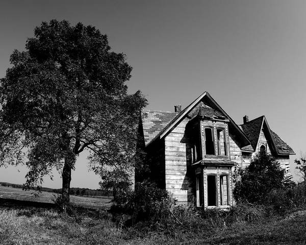 Black And White Poster featuring the photograph Abandoned House by Cale Best