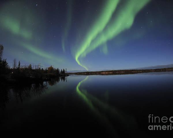 Yellowknife Poster featuring the photograph Aurora Borealis Over Long Lake by Jiri Hermann