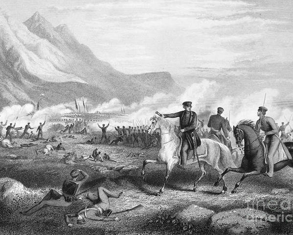 1847 Poster featuring the photograph Battle Of Buena Vista, 1847 by Granger