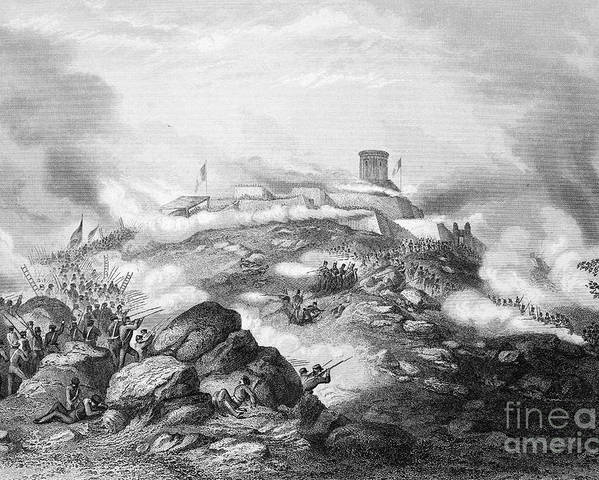 1847 Poster featuring the photograph Battle Of Chapultepec, 1847 by Granger