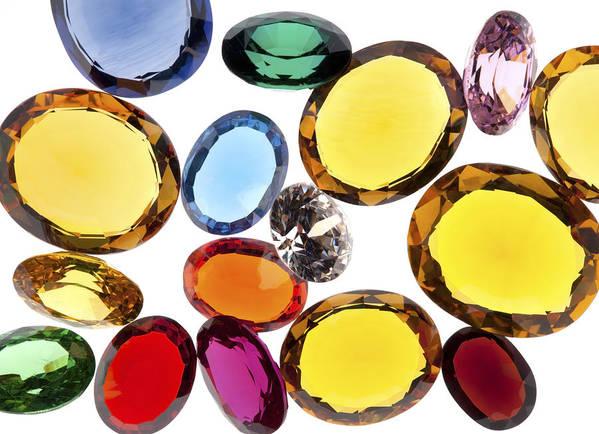 Aquamarine Poster featuring the photograph Colorful Gems by Setsiri Silapasuwanchai