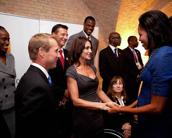 History Poster featuring the photograph First Lady Michelle Obama Greets by Everett