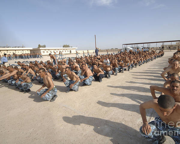 Physical Fitness Poster featuring the photograph Iraqi Police Cadets Being Trained by Andrew Chittock
