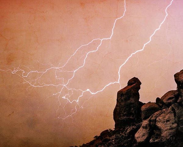 Bo Insogna Poster featuring the photograph Praying Monk Camelback Mountain Lightning Monsoon Storm Image Tx by James BO Insogna