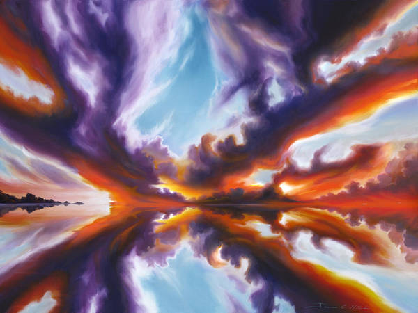 Bright Clouds; Sunsets; Reflections; Ocean; Water; Purple; Orange; Storms; Lightning; Contemporary; Abstract; Realism; James Christopher Hill; James Hill Studios; James C. Hill Poster featuring the painting Reflections of the Mind by James Christopher Hill