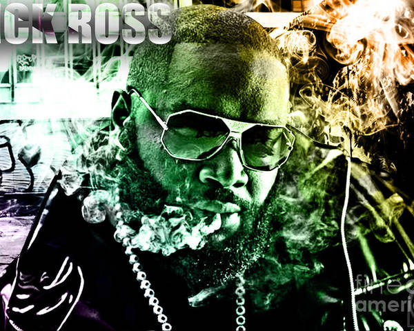 Rick Ross Poster featuring the digital art Rick Ross by The DigArtisT