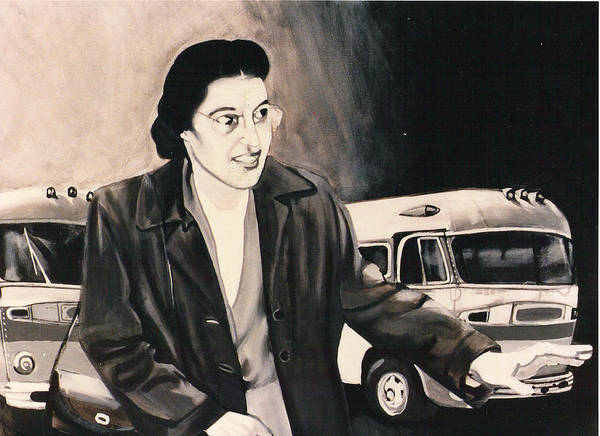 Rosa Parks;bus;civil Rights;civil Rights Era;bus Boycott;boycott;civil Rights History; Poster featuring the painting Rosa Parks by Howard Stroman