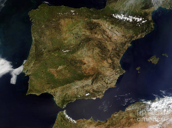 Satellite Map Of Spain.Satellite View Of Spain And Portugal Poster